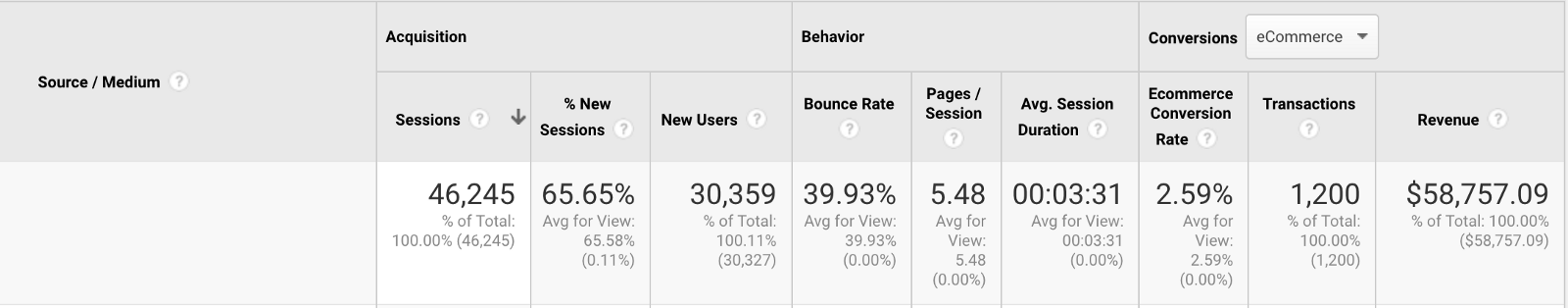google analytics source / medium